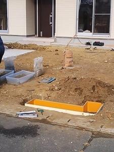 庭造り 門柱の基礎